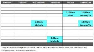 Reformer Class Timetable April 2020