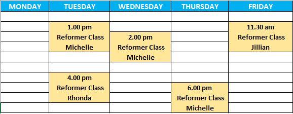 Reformer Class Timetable Aug 2020