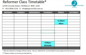 Reformer class timetable 31-5-21